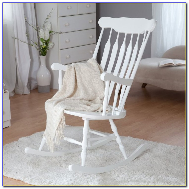 White Wooden Rocking Chair Outdoor
