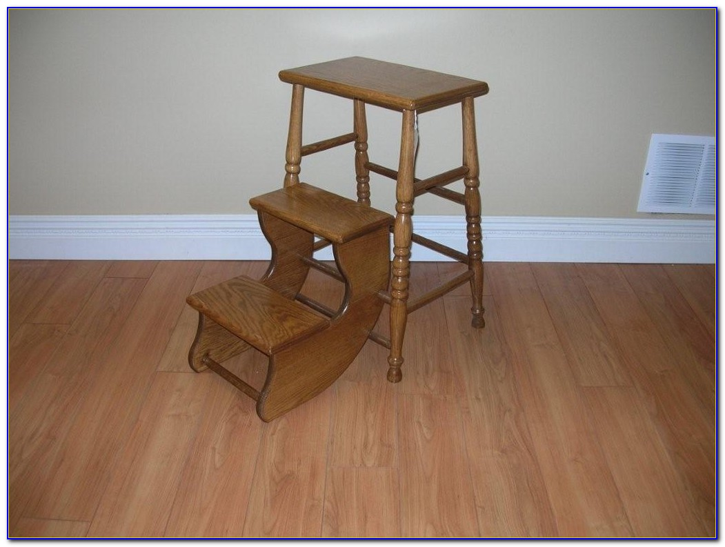 Wood Folding Step Stool Chair