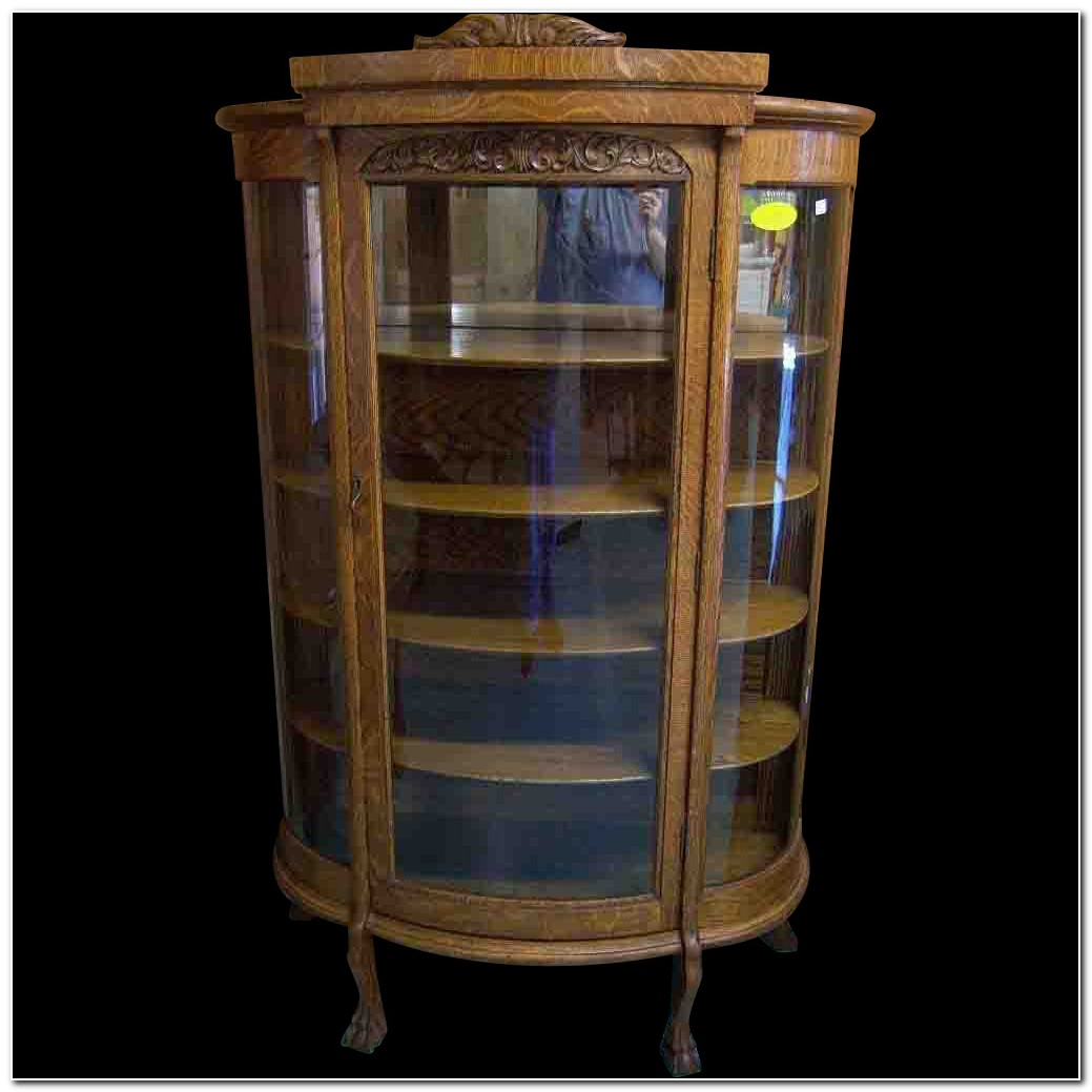 1900 Curved Glass China Cabinet