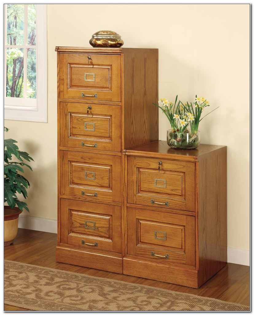 2 Drawer Oak File Cabinet Vertical