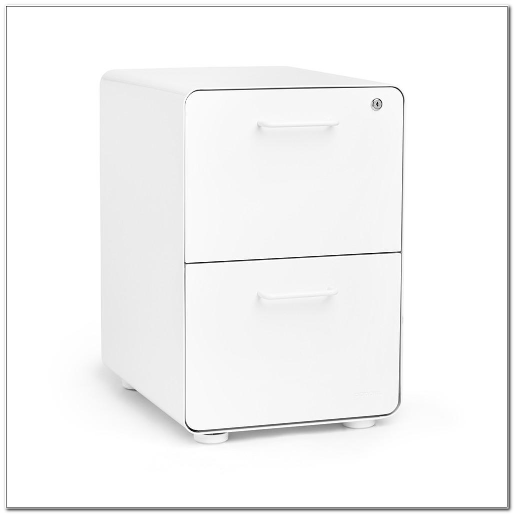 2 Drawer White Filing Cabinet