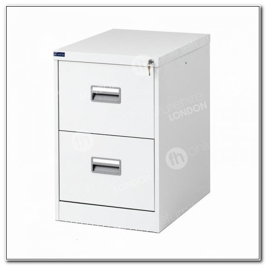 2 Drawer White Metal File Cabinet
