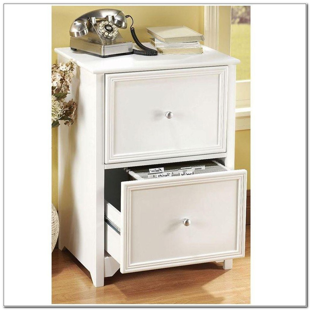 2 Drawer White Wood Filing Cabinet