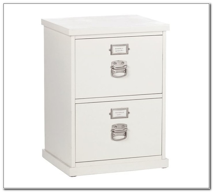 2 Drawer Wood File Cabinet White
