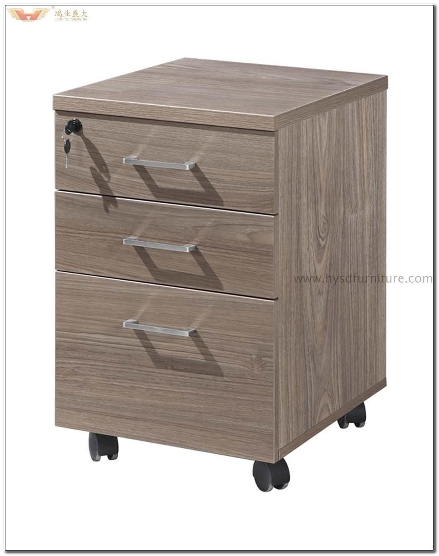 3 Drawer Mobile File Cabinet Wood