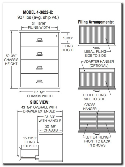4 Drawer Lateral File Cabinet Dimensions