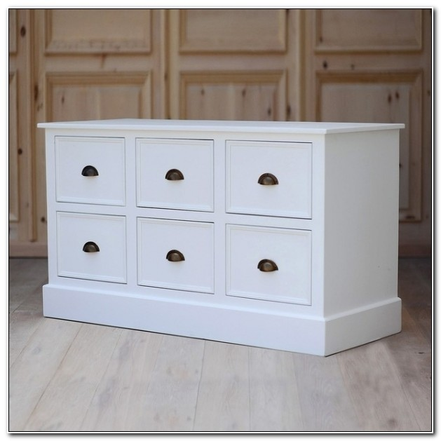 4 Drawer White Wood File Cabinets