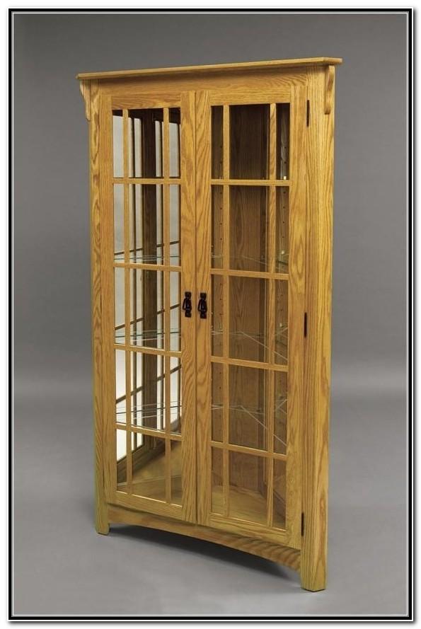 Amish Oak Corner Curio Cabinet