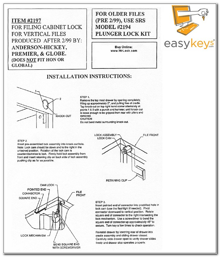 Anderson Hickey File Cabinet Lock Kit