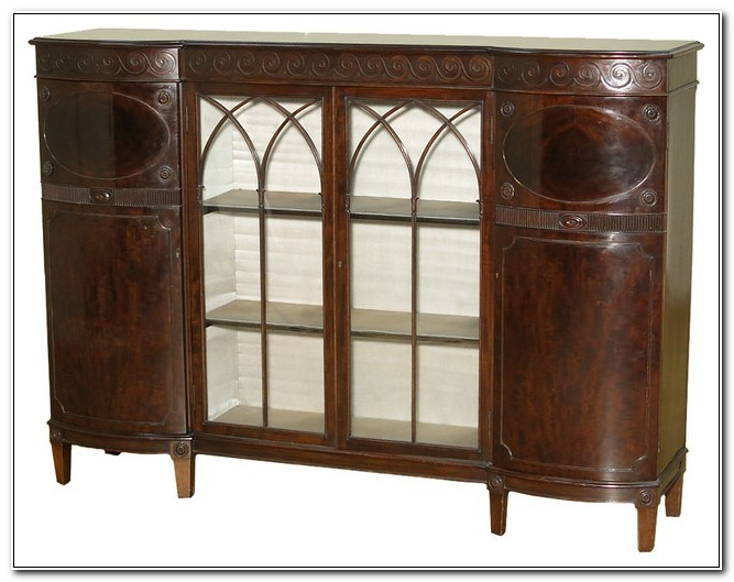 Antique English Mahogany China Cabinet