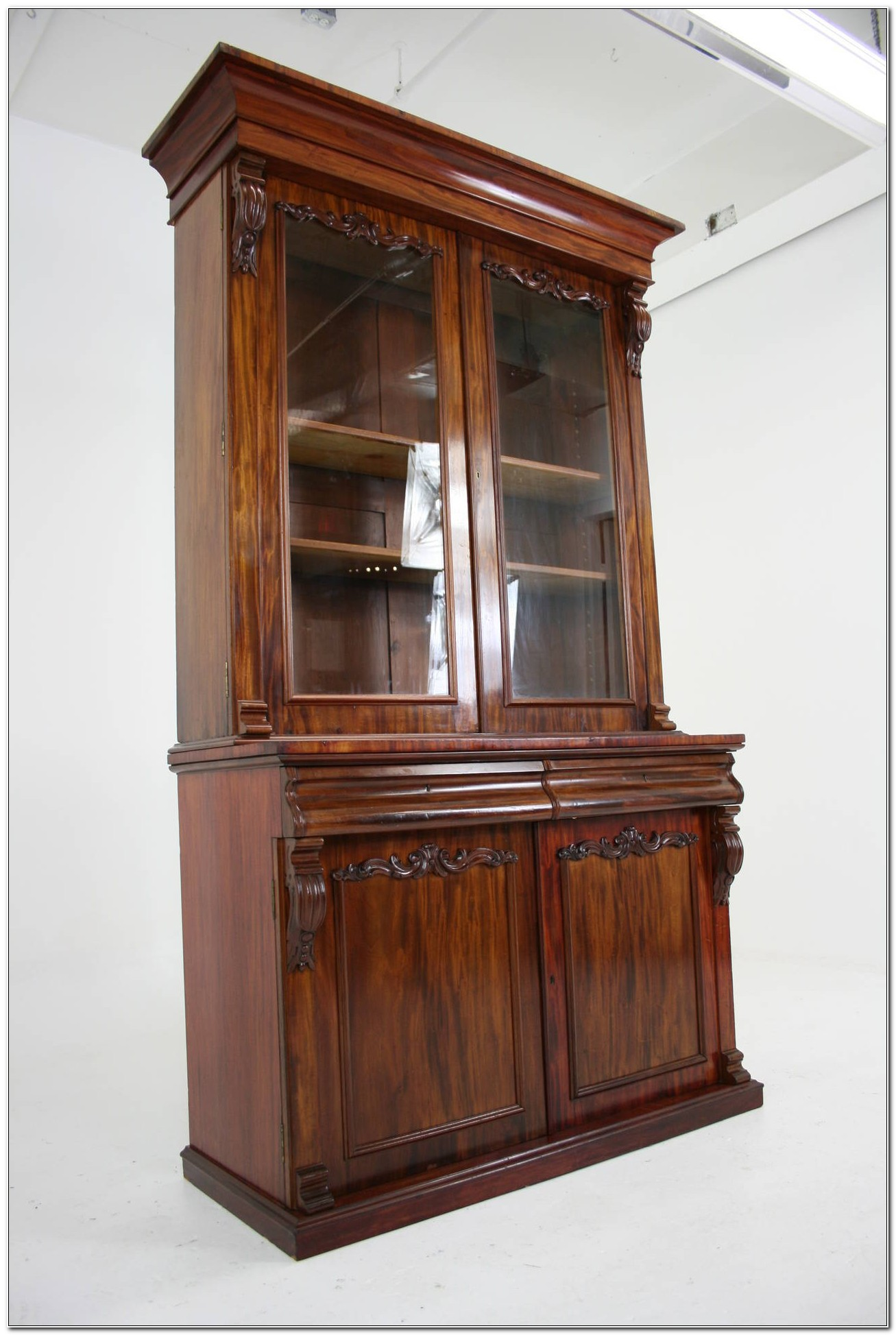 Antique Mahogany Display Cabinets With Glass Doors