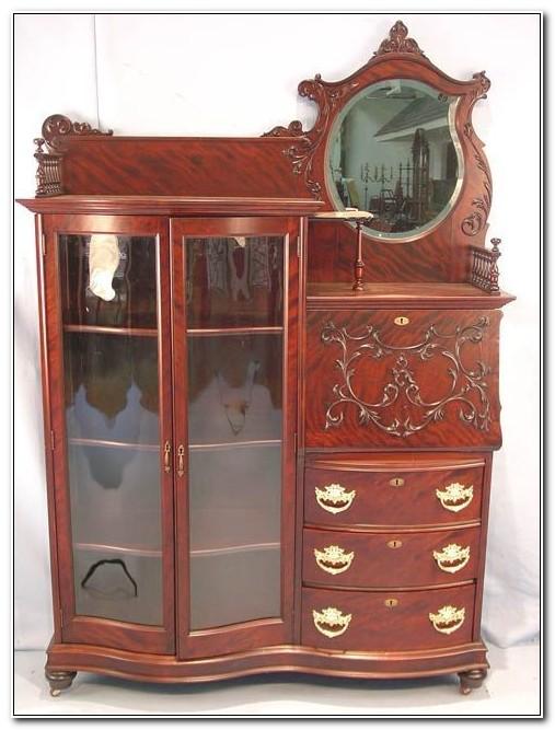Antique Mahogany Secretary China Cabinet Desk Sideboard