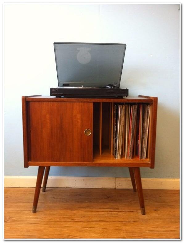 Antique Vinyl Record Storage Cabinet