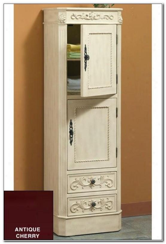 Antique White Bathroom Linen Cabinets