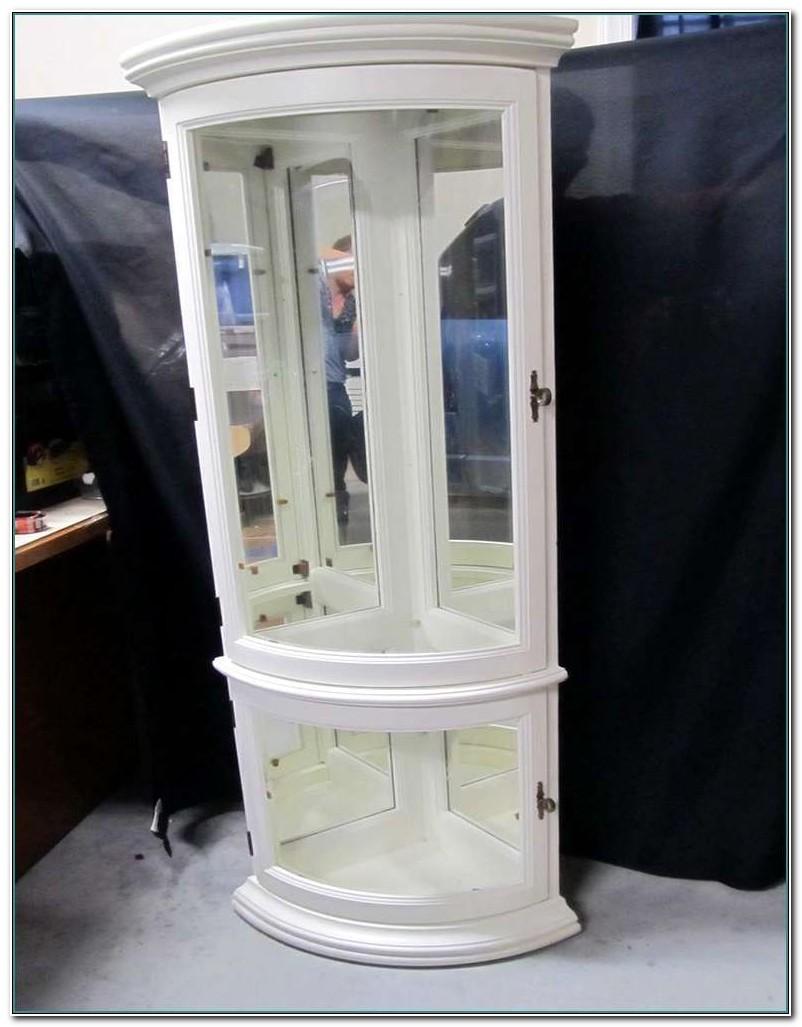 Antique White Corner Curio Cabinet