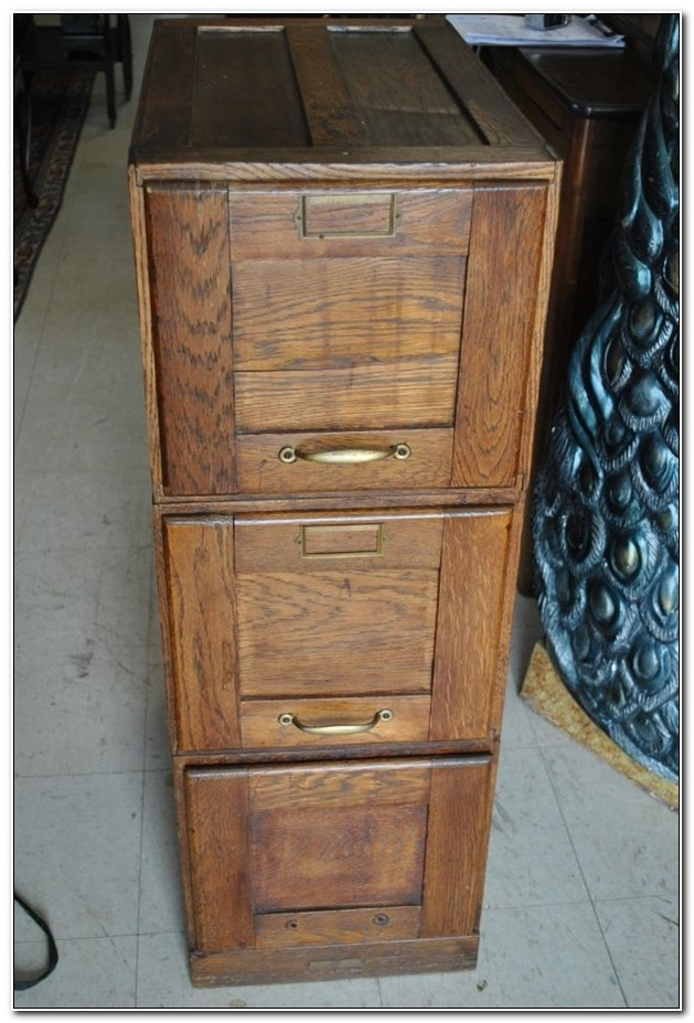 Antique Wooden File Cabinets 3 Drawer