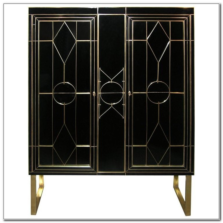 Art Deco Bar Cabinet Black