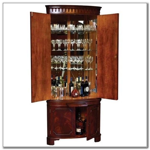 Bar With Locking Liquor Cabinet