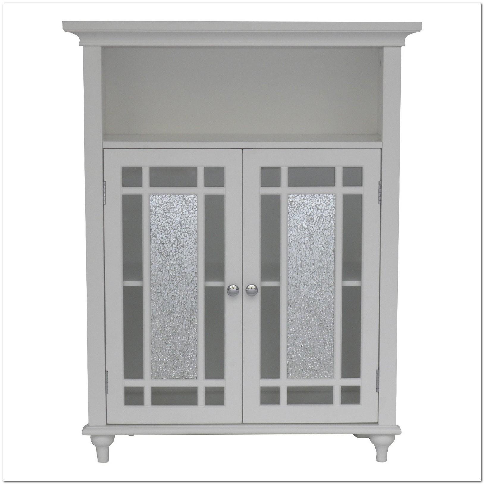 Bathroom Floor Cabinet With Glass Doors