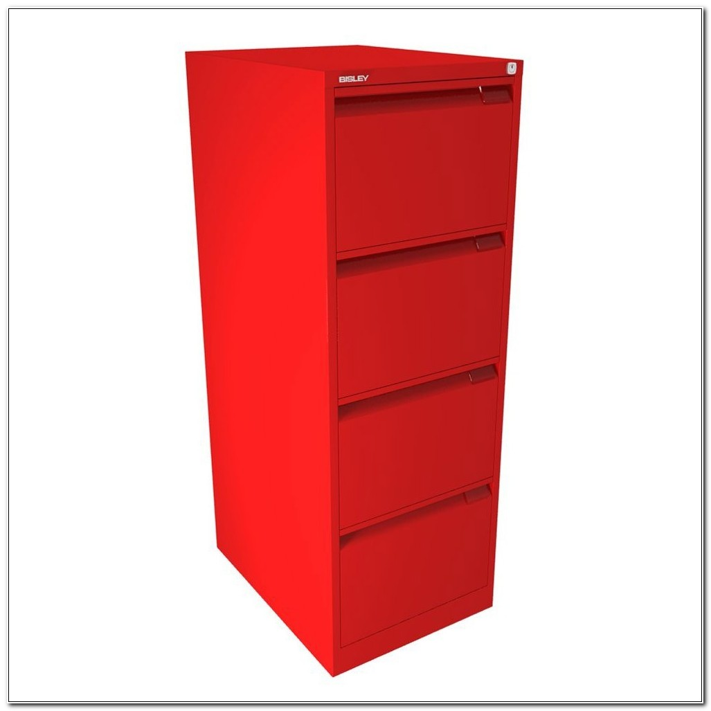 Bisley 4 Drawer Filing Cabinet Red