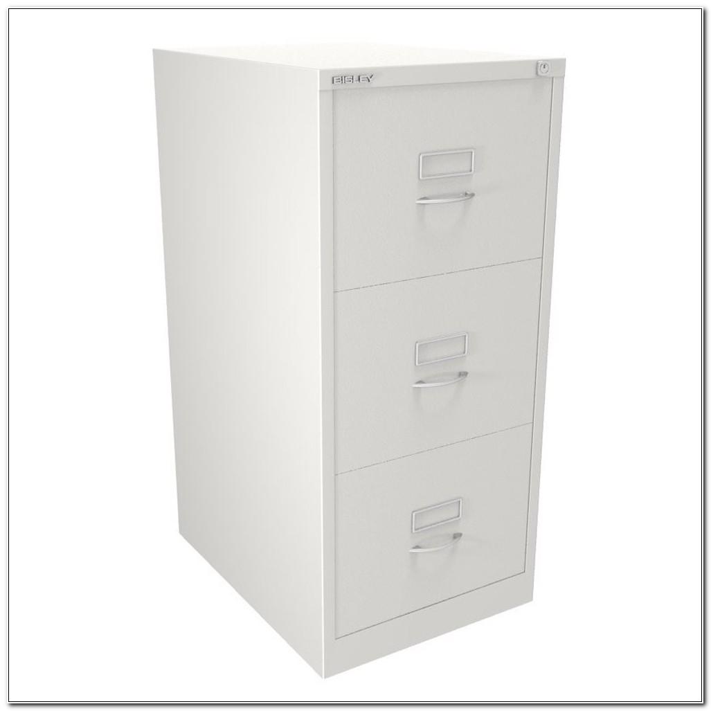 Bisley White 3 Drawer Filing Cabinet