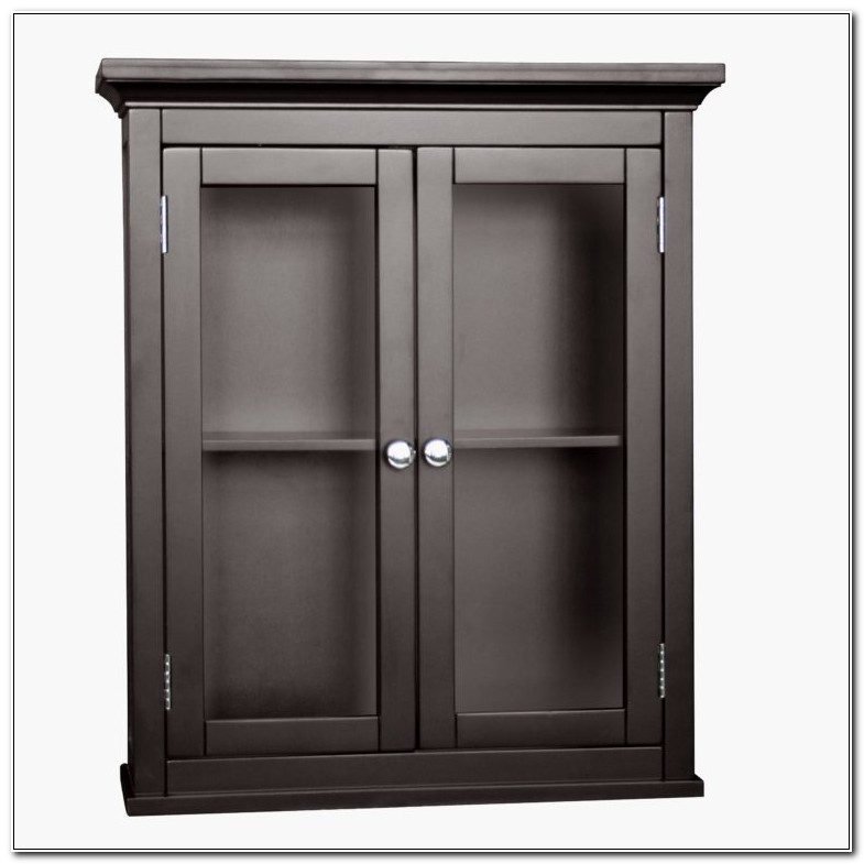 Black Bathroom Wall Cabinet With Glass Doors