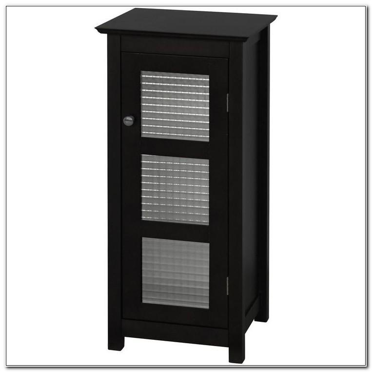 Black Floor Cabinet With Glass Doors