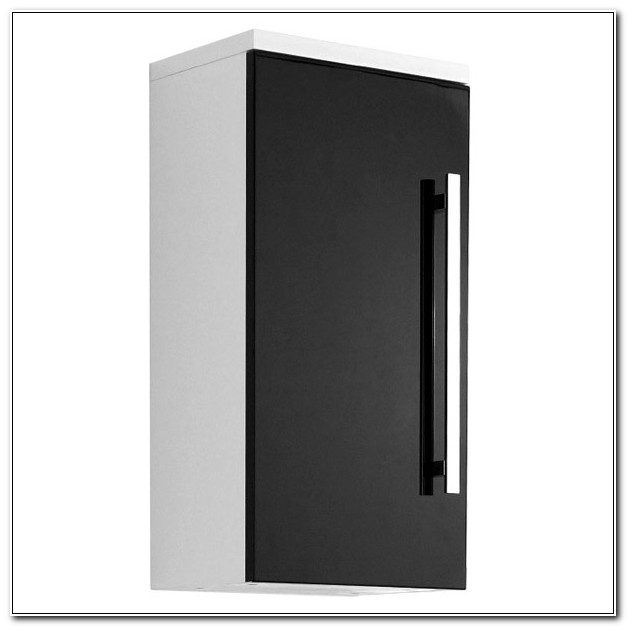 Black High Gloss Bathroom Wall Cabinets