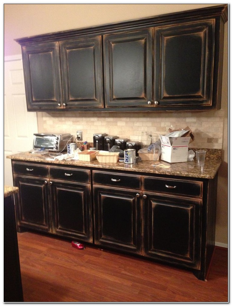 Black Kitchen Cabinets Pictures Distressed