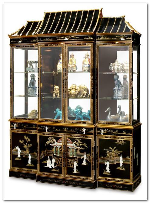Black Lacquer Oriental China Cabinet