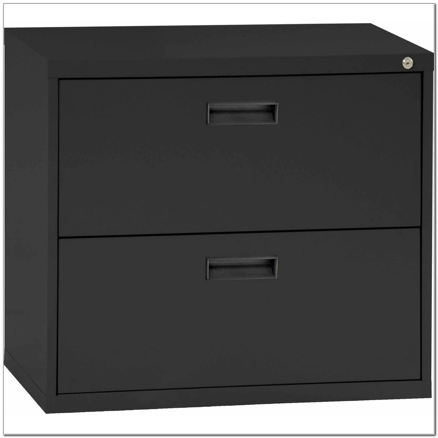 Black Lateral Filing Cabinet 2 Drawer