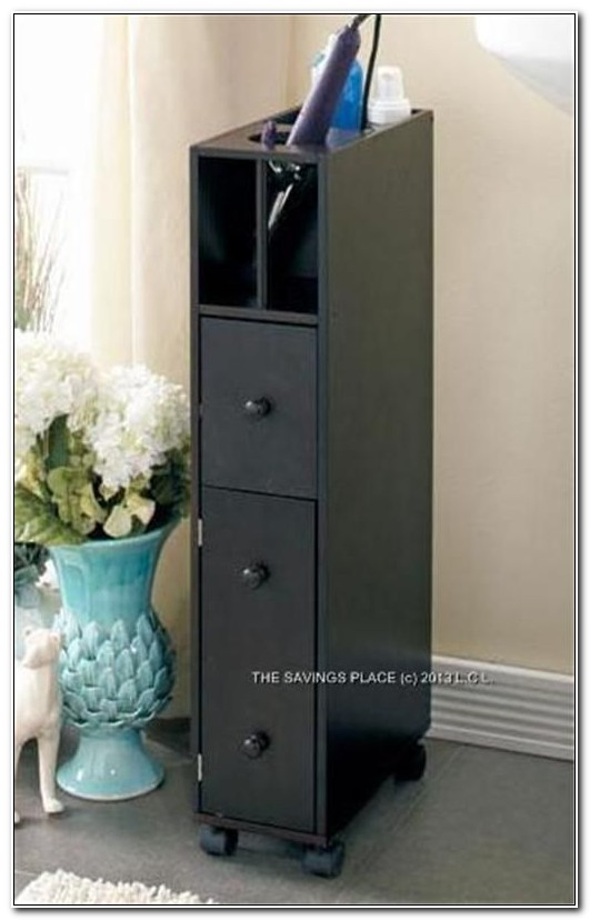 Black Slim Bathroom Storage Cabinet