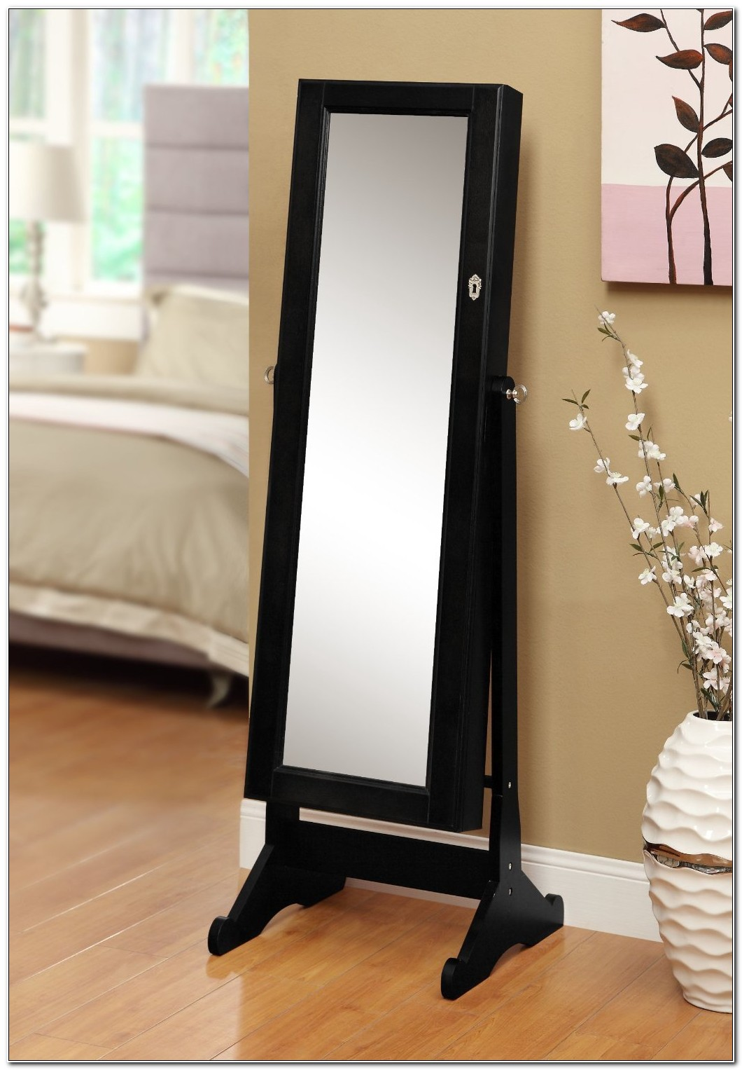 Black Standing Jewelry Armoire With Mirror