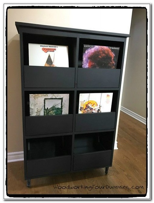 Black Vinyl Record Storage Cabinet