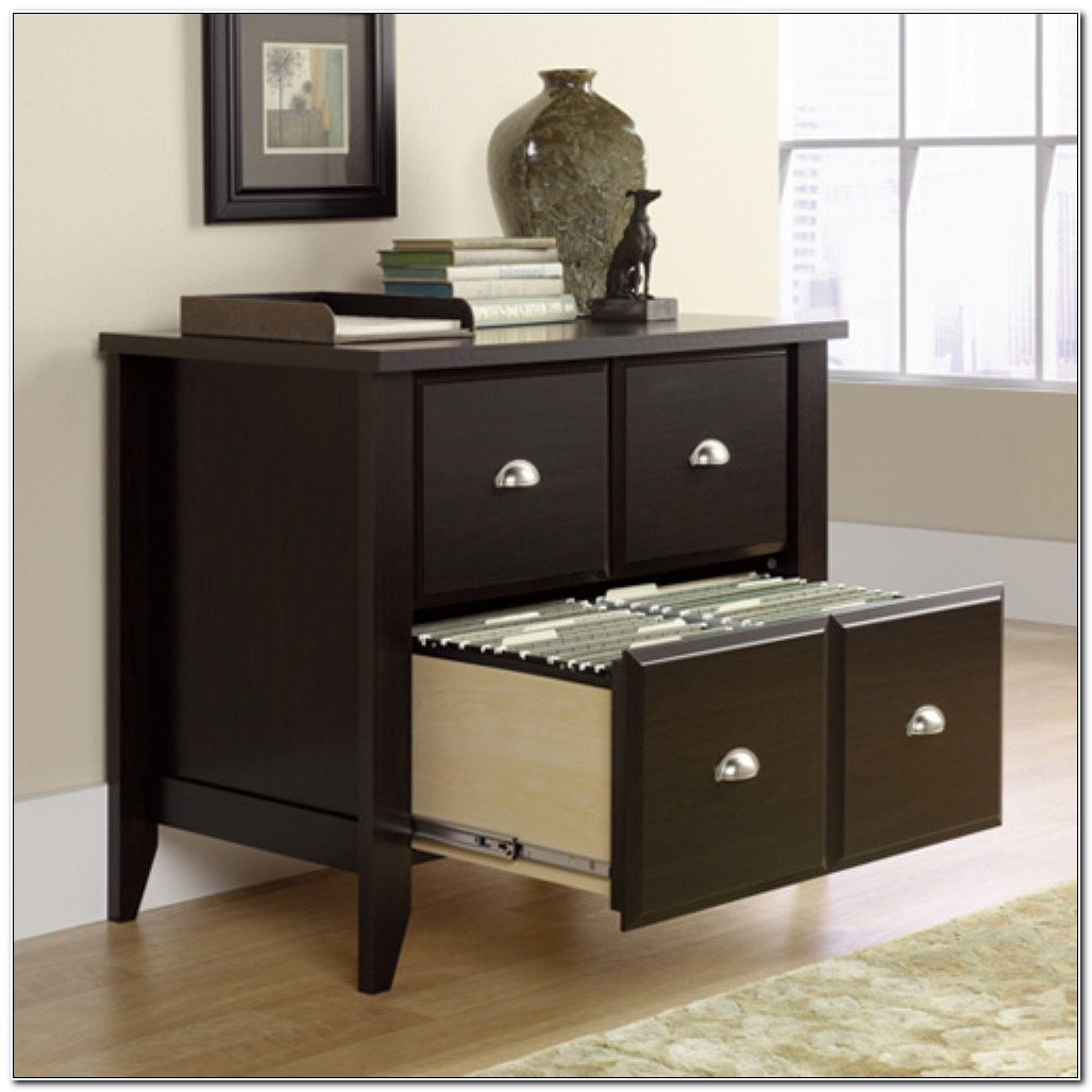 Black Wood Lateral File Cabinet With Lock