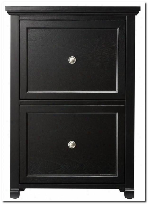 Black Wooden File Cabinet 2 Drawer