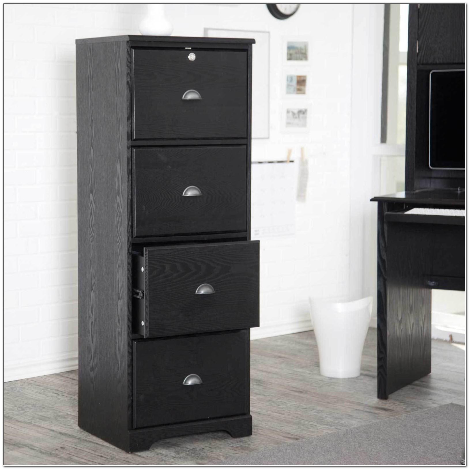 Black Wooden File Cabinets 4 Drawer