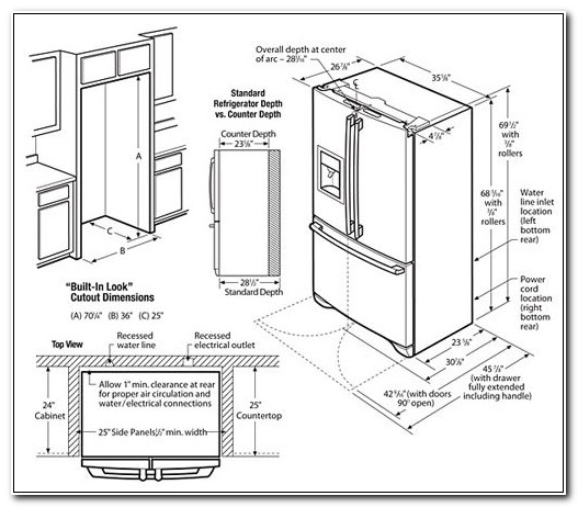 Built In Refrigerator Cabinet Dimensions