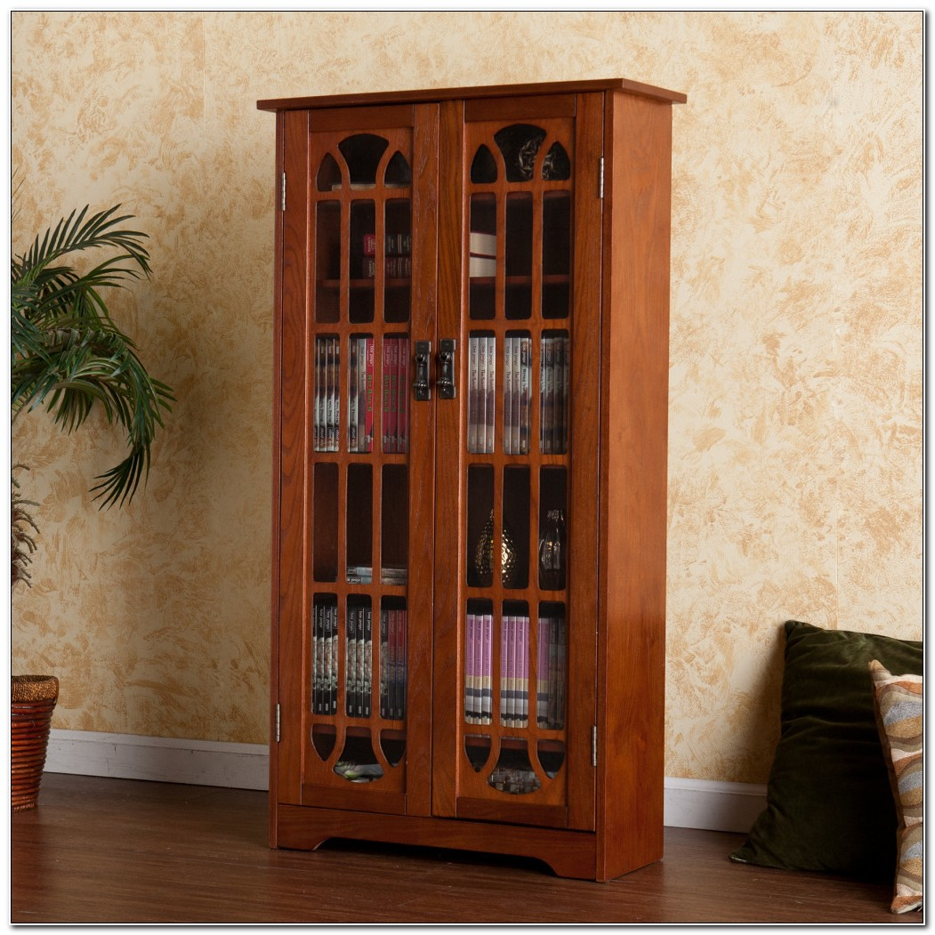 Cddvd Storage Cabinet With Glass Doors