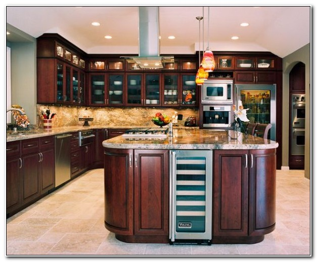 Cherry Wood Kitchen Cabinets With Glass Doors