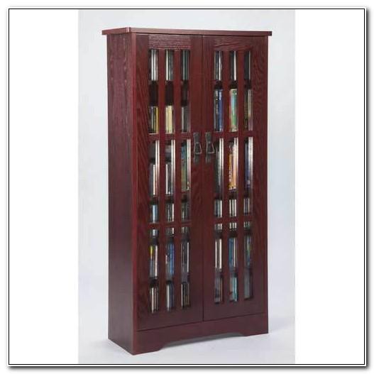 Cherry Wood Media Storage Cabinet