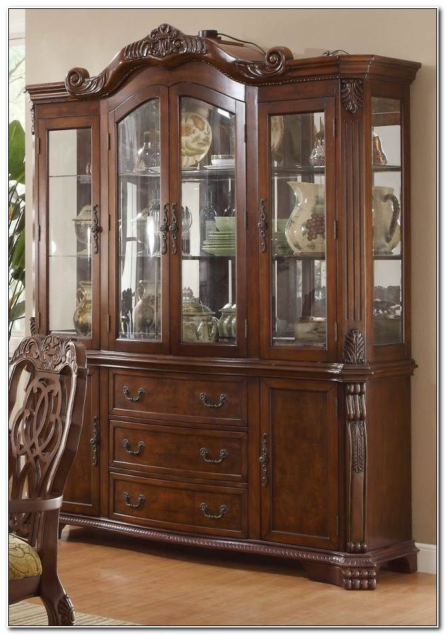 China Cabinet Buffet Hutch Traditional Cherry Finish