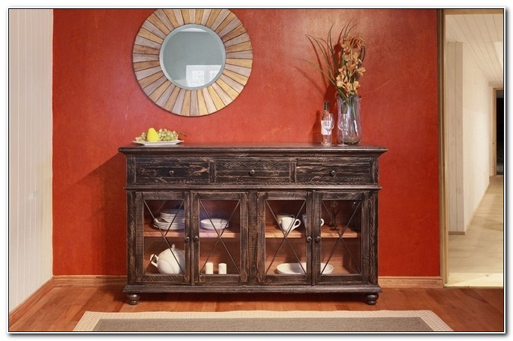 Console Cabinet With Glass Doors