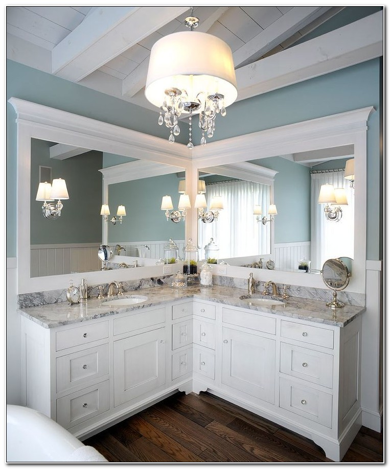 Corner Double Sink Bathroom Vanity