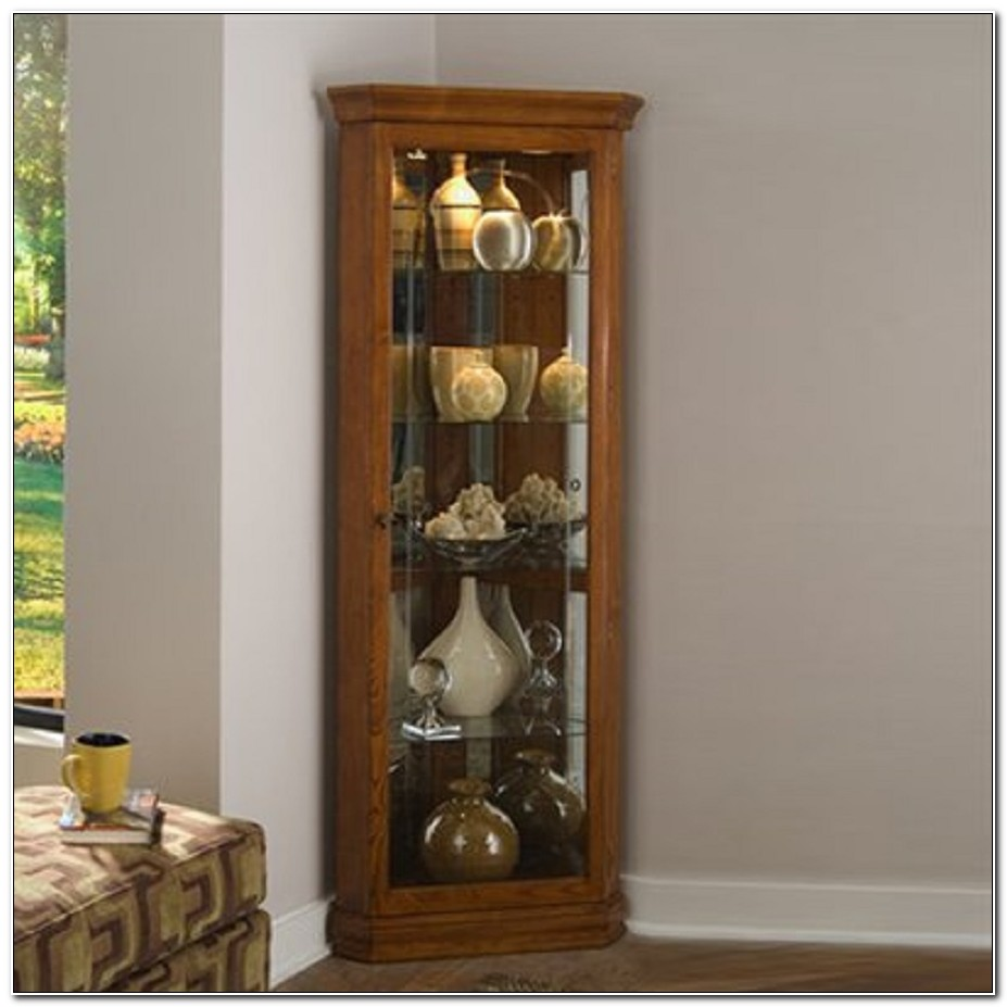 Corner Lighted Curio Cabinet Golden Oak