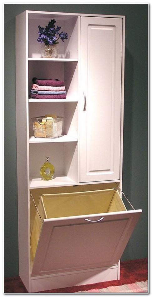 Corner Linen Cabinet With Hamper