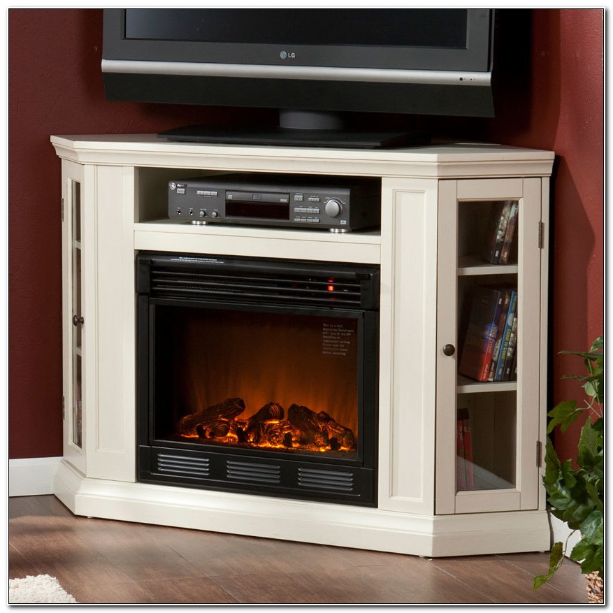 Corner Media Cabinet With Electric Fireplace