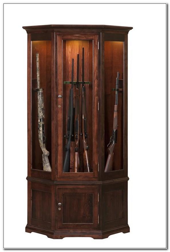 Corner Wood Gun Cabinet