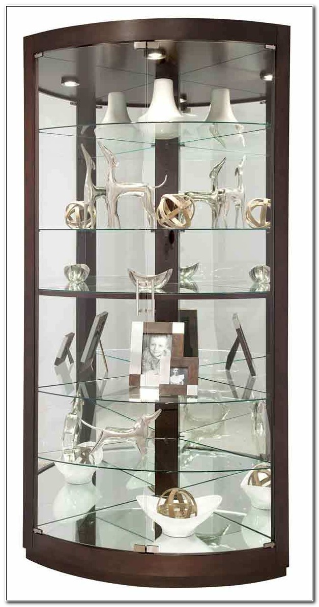 Curved Glass Corner Curio Cabinet