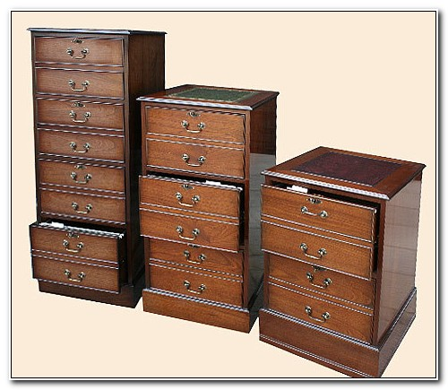 Dark Brown Wooden Filing Cabinet